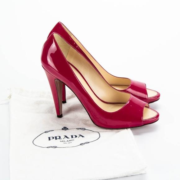 23b317f6aa6e PRADA Pink Patent Peep Toe Heels. Prada. M 5ca7bcd88d6f1ab64ef24e12.  M 5ca7bcd7264a559e73031599. M 5ca7bcd8afade86e94874899.  M 5ca7bcd8afade8a15687489a